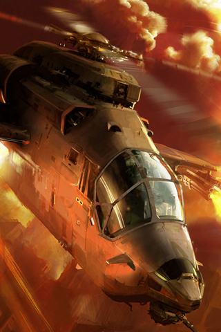 Helicopter-Fire-3D-iPhone-Wallpaper