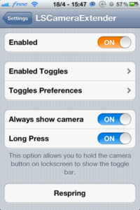 lscameraextender tweak cydia iPhone et iPod