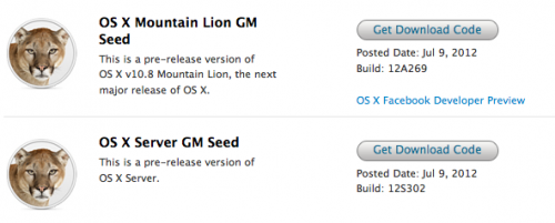 OS X Mountain Lion Gold Master
