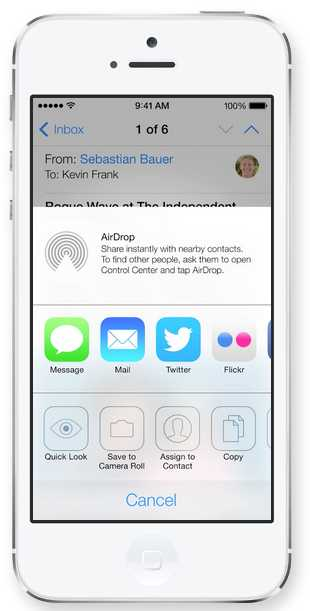 AirDrop Apple - iOS 7
