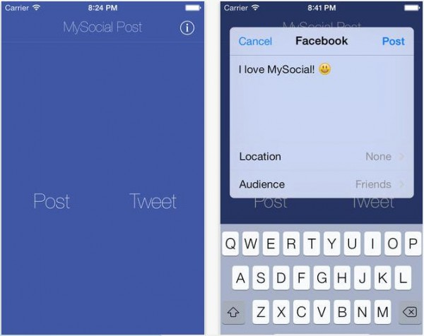 MySocial Post Facebook Twitter-Info iDevice