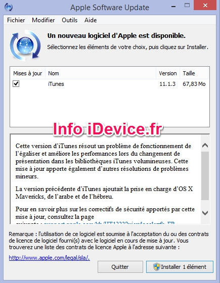 Apple iTunes 11.1.3-Info iDevice