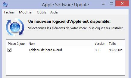 tableau de bord iCloud 3.1 via Apple Software Update-Info iDevice