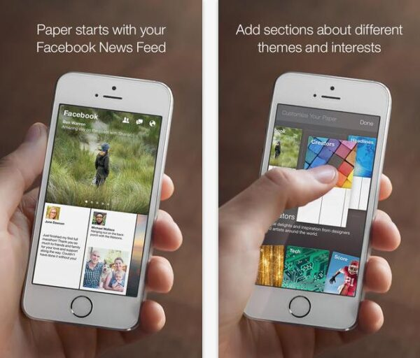 screnshot de l'application Paper de Facebook sur iPhone 5S
