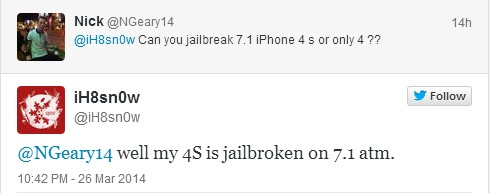 tweet iH8sn0w jailbreak iOS 7.1 sur iPhone 4S