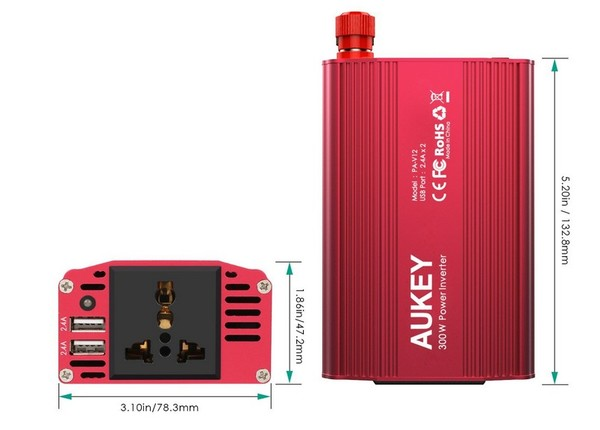 dimensions convertisseur auto 12-230 volts aukey-infoidevice