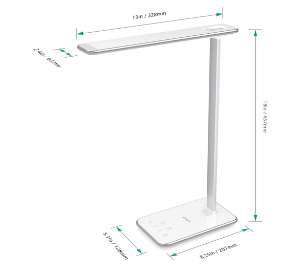 dimensions lampe led aukey lt-t7-infoidevice