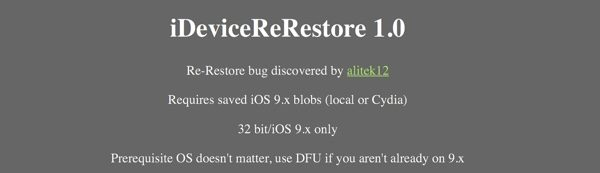 idevicererestore donwgrade ios 10 vers ios 9 infoidevice