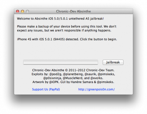 Absinthe jailbreak untethered iPhone 4S iPad 2