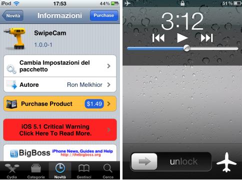 SwipeCam- ajouter de nouvelles options dans l'appareil photo icône LockScreen
