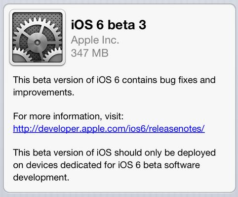 Apple annonce la sortie d'iOS 6 Beta 3 pour les développeurs