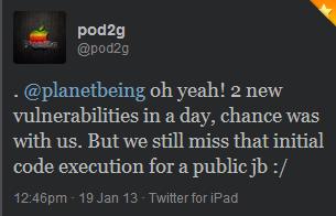 Pod2g et Planetbeing trouvent 2 failles pour jailbreak iOS 6