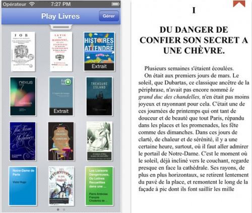 Google Play Livres pour iPhone, iPod touch et iPad sur l'iTunes App Store