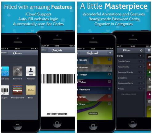 Safecard sauvegarde vos mots de passe et autres cartes de crédits sur iPhone3