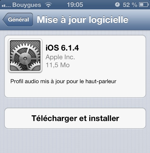 iOS 6.1.4 pour iPhone 5