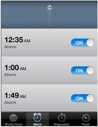 Pull To Disable Alarms - Application Cydia