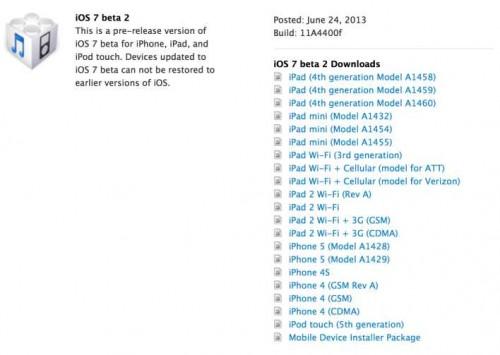 iOS 7 beta 2 pour iPad et iPad mini