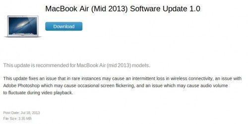correction Wifi MacBook Air (Mid 2013) Soft Update 1.0- Info iDevice