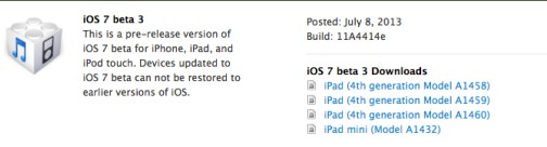 iOS 7 beta 3 build 11A4414e - Info iDevice