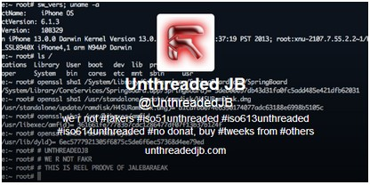 UnthreadedJB - unthedera1n - Info iDevice