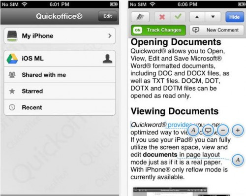 QuickOffice pour iPhone gratuit - Info iDevice