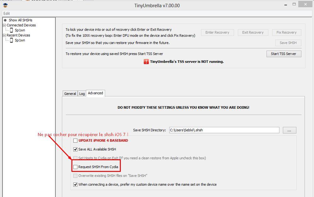 Tiny umbrella 7 sauvegarde shsh iOS 7 - Info iDevice