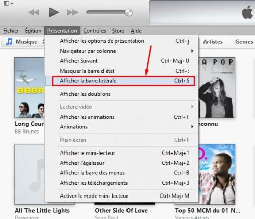 afficher la barre latérale iTunes