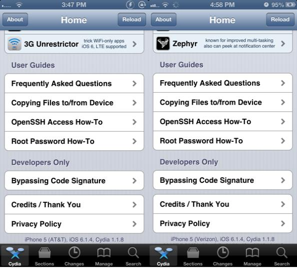 jailbreak iphone 5 AT&T et Verizon iOS 6.1.4 - Info iDevice