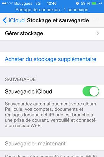 option sauvegarde iCloud iPhone - Info iDevice