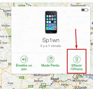option localiser mon iPhone sur iCloud