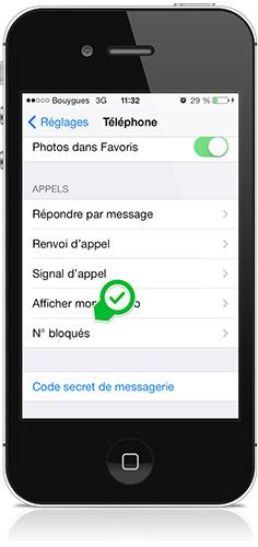 numéros bloqués iOS 7-Info iDevice