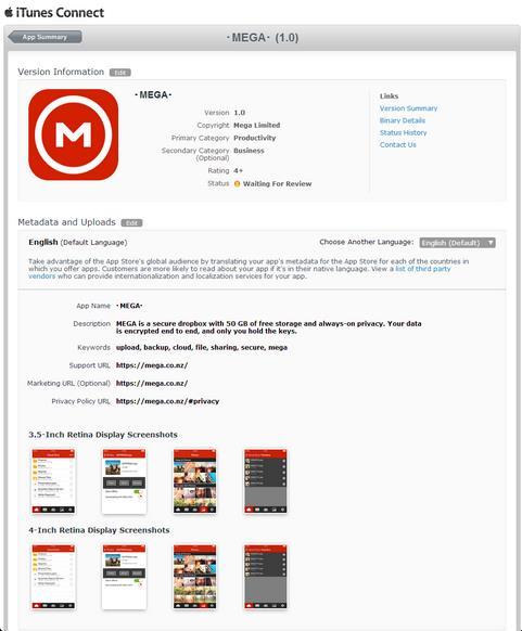 MEGA version 1.0 iOS-Info IDevice