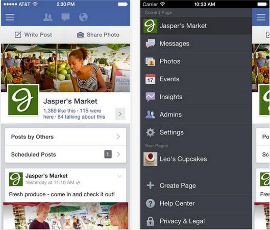 Facebook Gestionnaire de pages version 2.2-Info iDevice