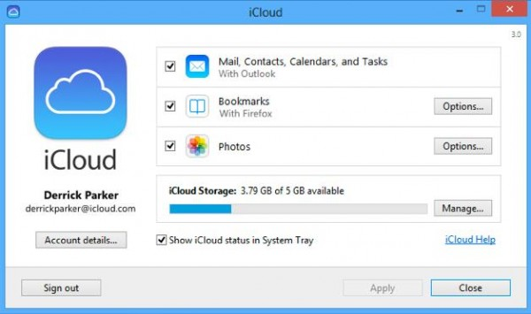 iCloud Panel Control Apple-Info iDevice