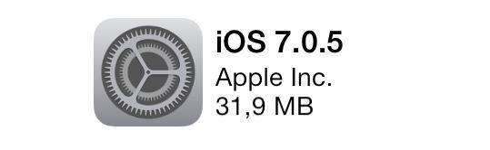 image avec icône originale des réglages sur iPhone et iPad sous iOS 7, affichant la dernière mise à jour d'Apple iOS 7.0.5
