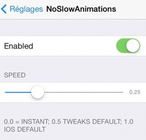 NoSlowAnimations réglages-Info iDevice
