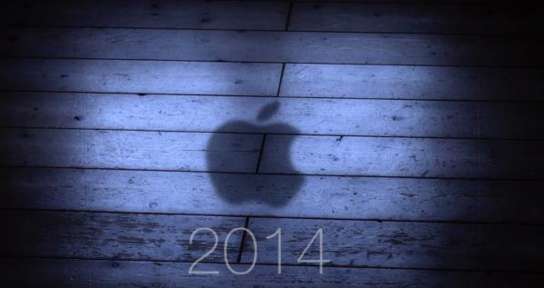 image d'illustration avec au premier plan l'année 2014 et au second plan l'ombre du sigle Apple , une pomme croquée, qui se pose sur un parquet.