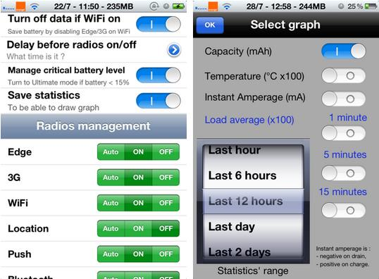 réglages de BattSaver for iOS 7