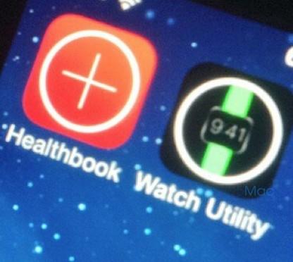 impression écran des applis Healthbook et Watch Utility sur iOS 8