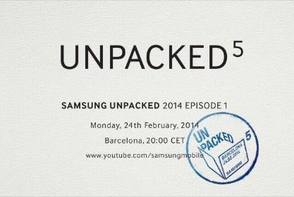 Carton d'invitation de Samsung pour l'évènement du 24 février 2014 à Barcelone