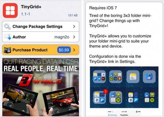 screenshot de TinyGrid+ disponible dans Cydia