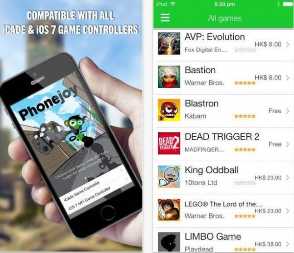 image de l'application Phonejoy listant les jeux compatibles iOS 7 et contrôleurs MFI