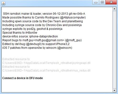 ssh_rd Jailbreak iOS 7.1 iPhone 4