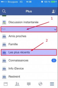 application facebook version 10 afficher les plus récents