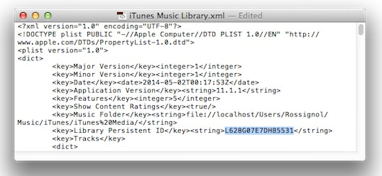 itunes music library xml
