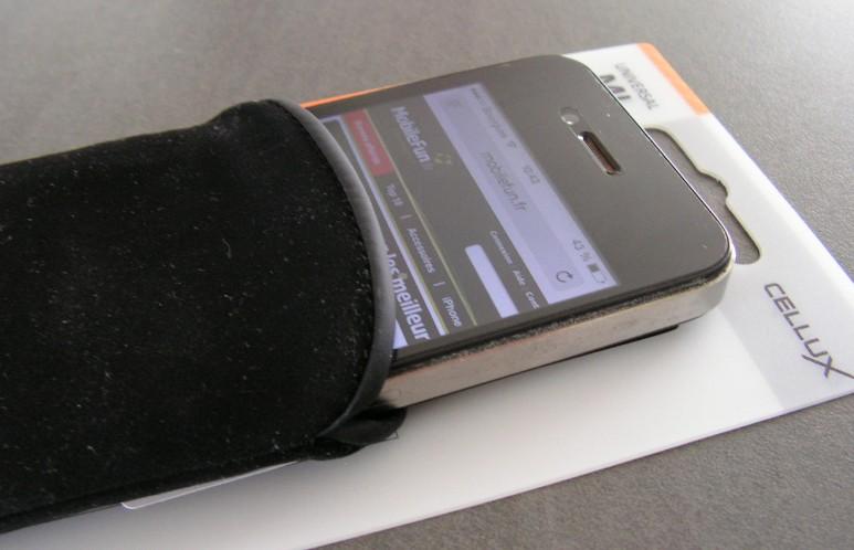 test pochette pour iPhone cellux en microfibre MobileFun