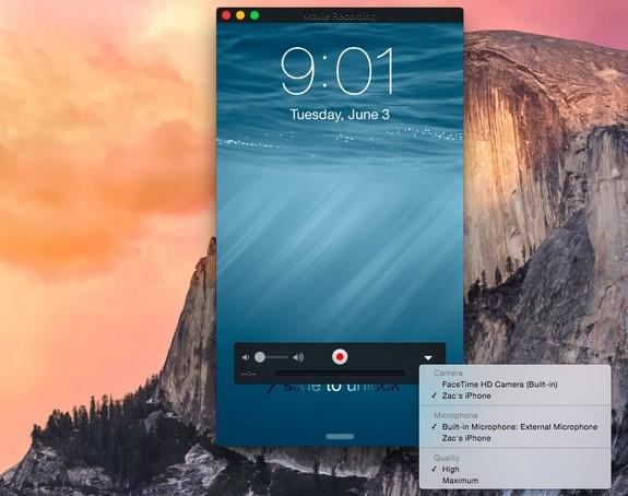 enregistrez l'écran iphone ipad avec iOS 8 et OS X Yosemite