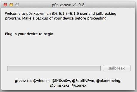 p0sixspwn 1.0.8 jailbreak untethered iOS 6.1.6