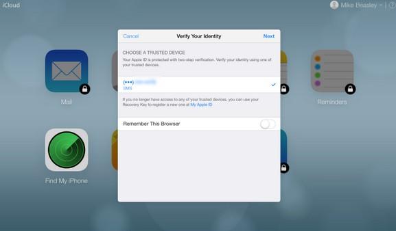 identification en deux étapes iCloud