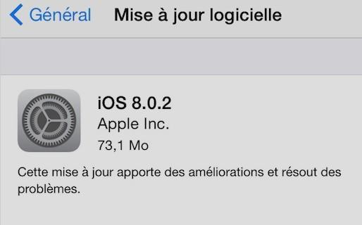 mise à jour iOS 8.0.2